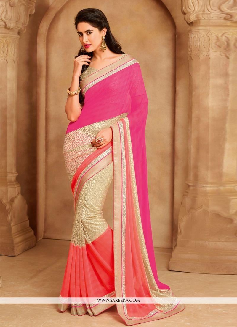 Faux Chiffon Multi Colour Designer Saree