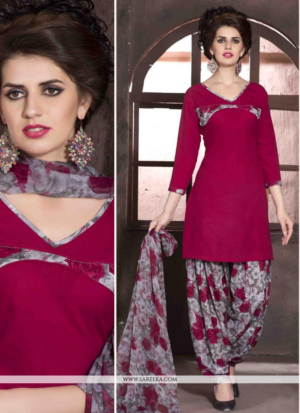 Faux Crepe Print Work Designer Patiala Salwar Kameez