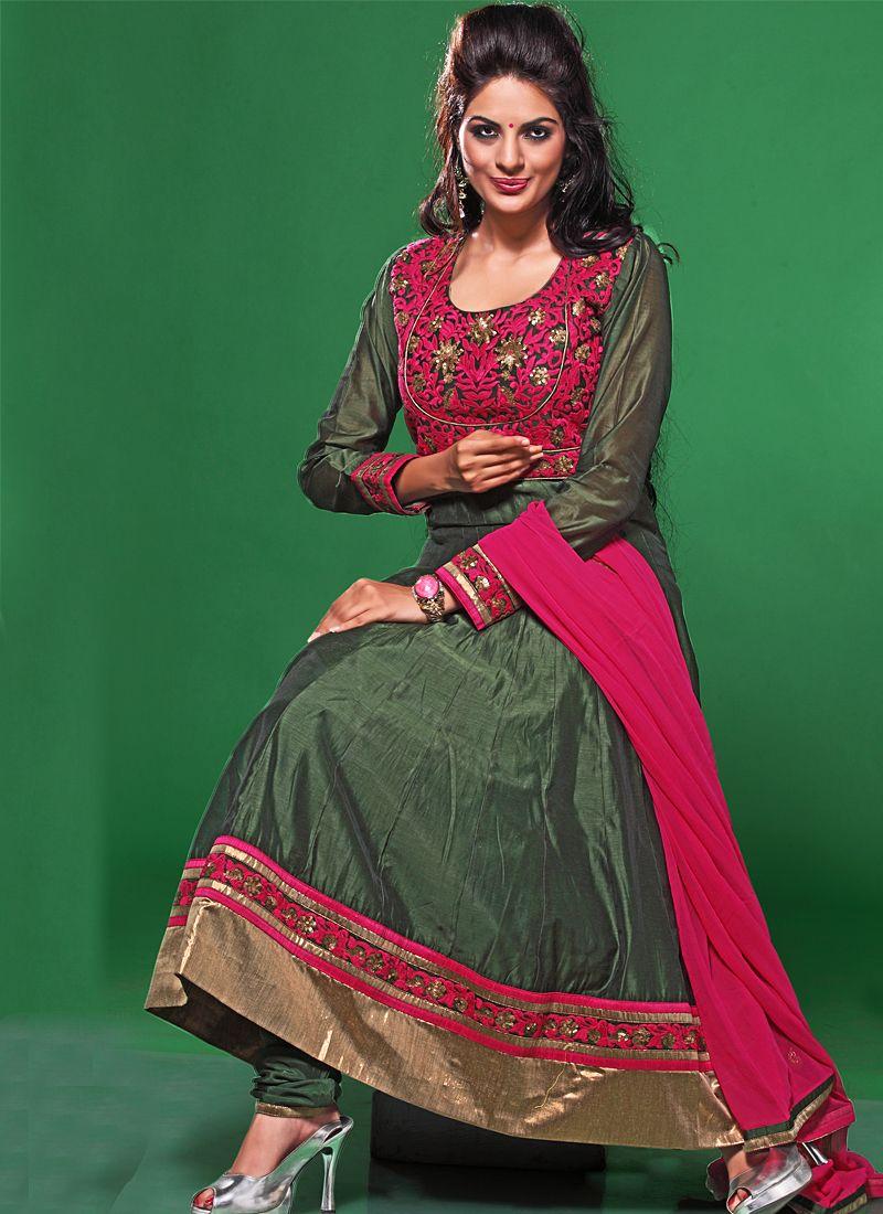 Green Resham Work Anarkali Suit