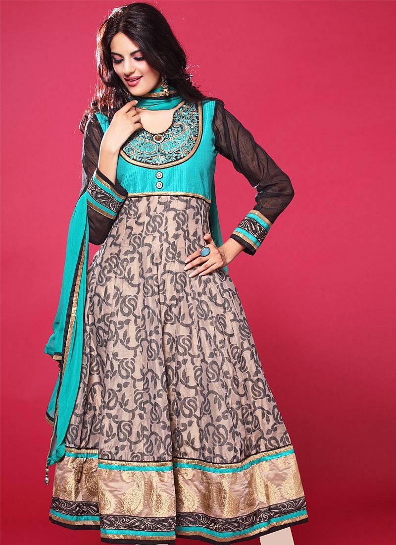 Grey Resham Work Net Anarkali Suit