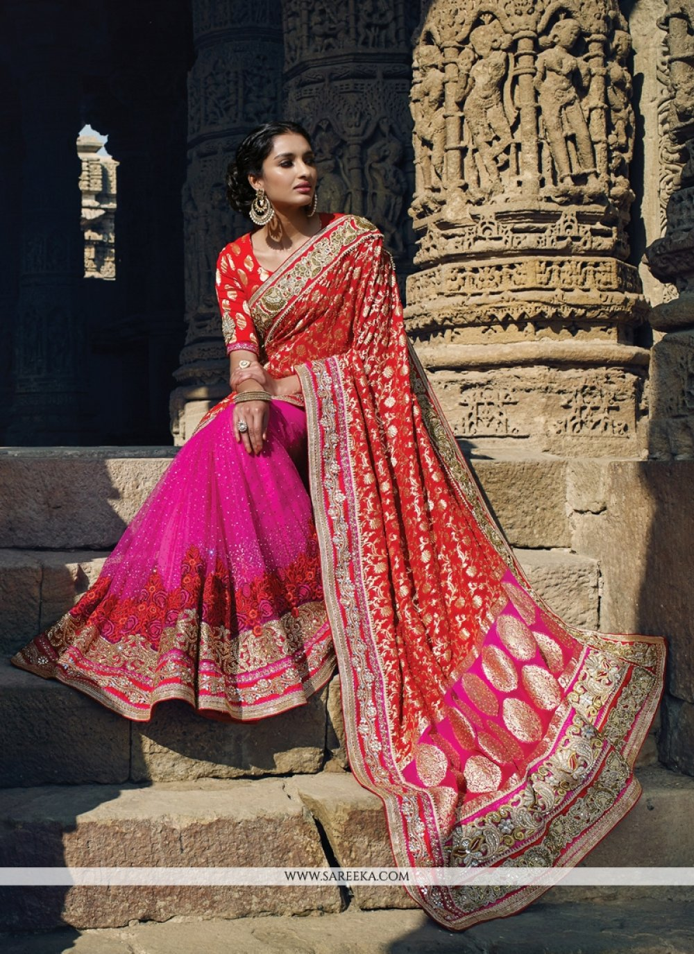 Net Hot Pink and Red Patch Border Work Designer Saree