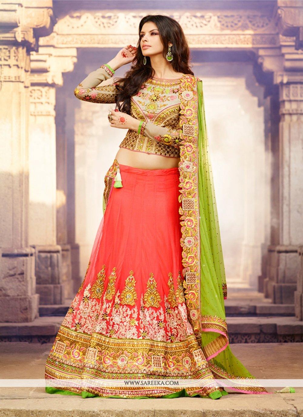Pink And Cream Net Bridal Lehenga Choli