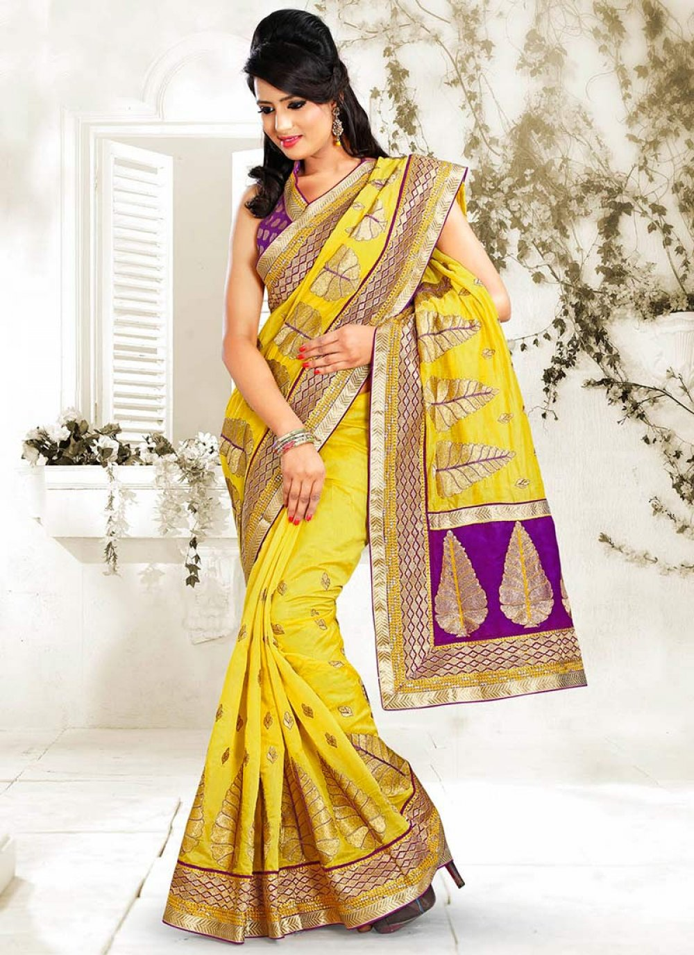 Yellow Chanderi Cotton Saree