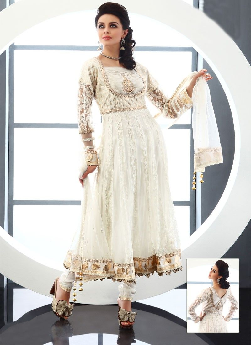 Compliment Off White Net Churidar Suit