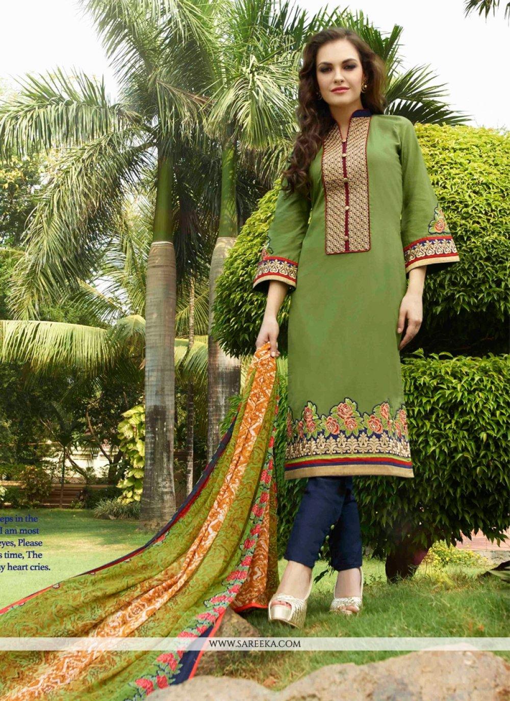 Embroidered Work Green Cotton Satin Churidar Designer Suit