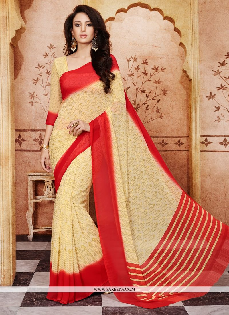 Georgette Cream Casual Saree
