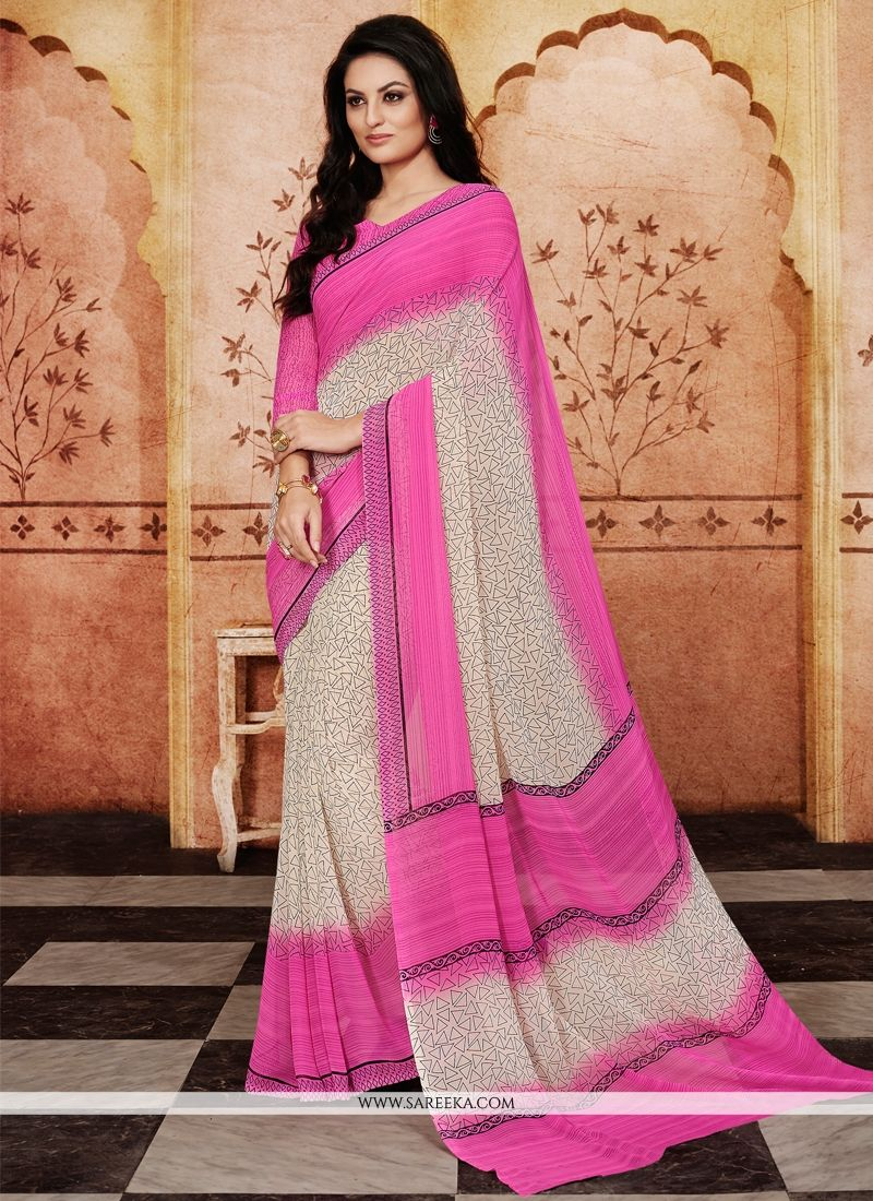 Georgette Pink Print Work Casual Saree
