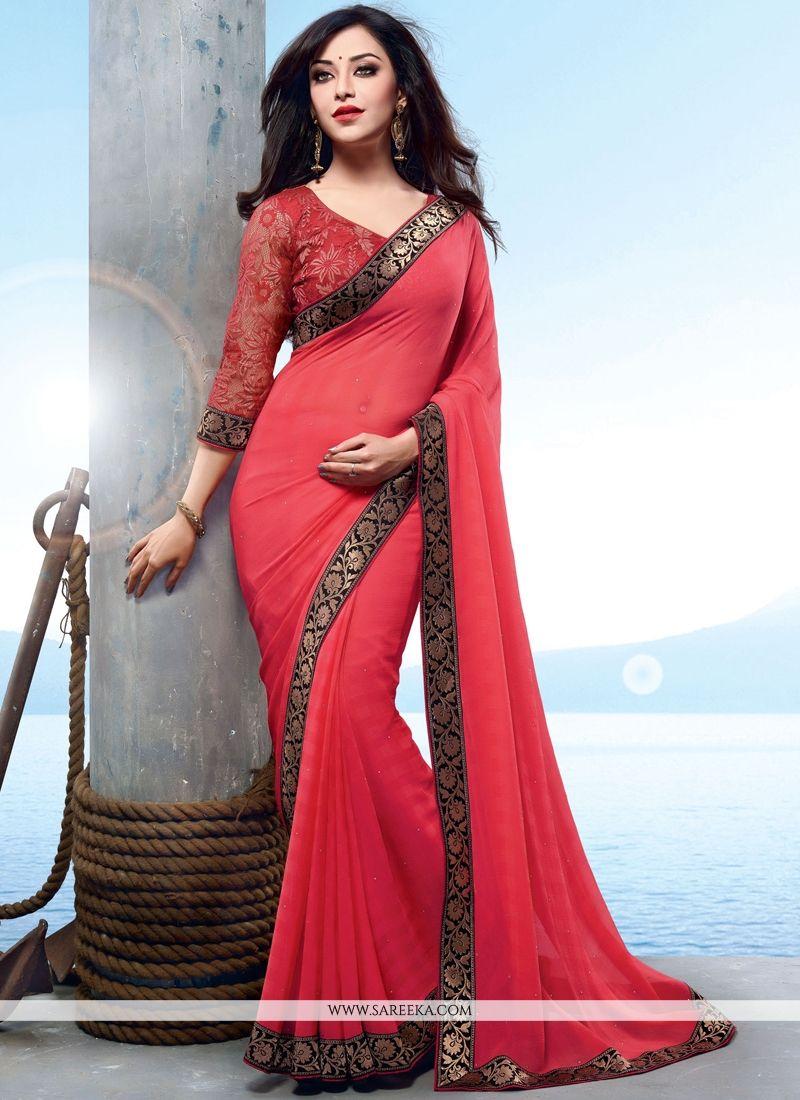 Red Patch Border Work Faux Chiffon Designer Saree