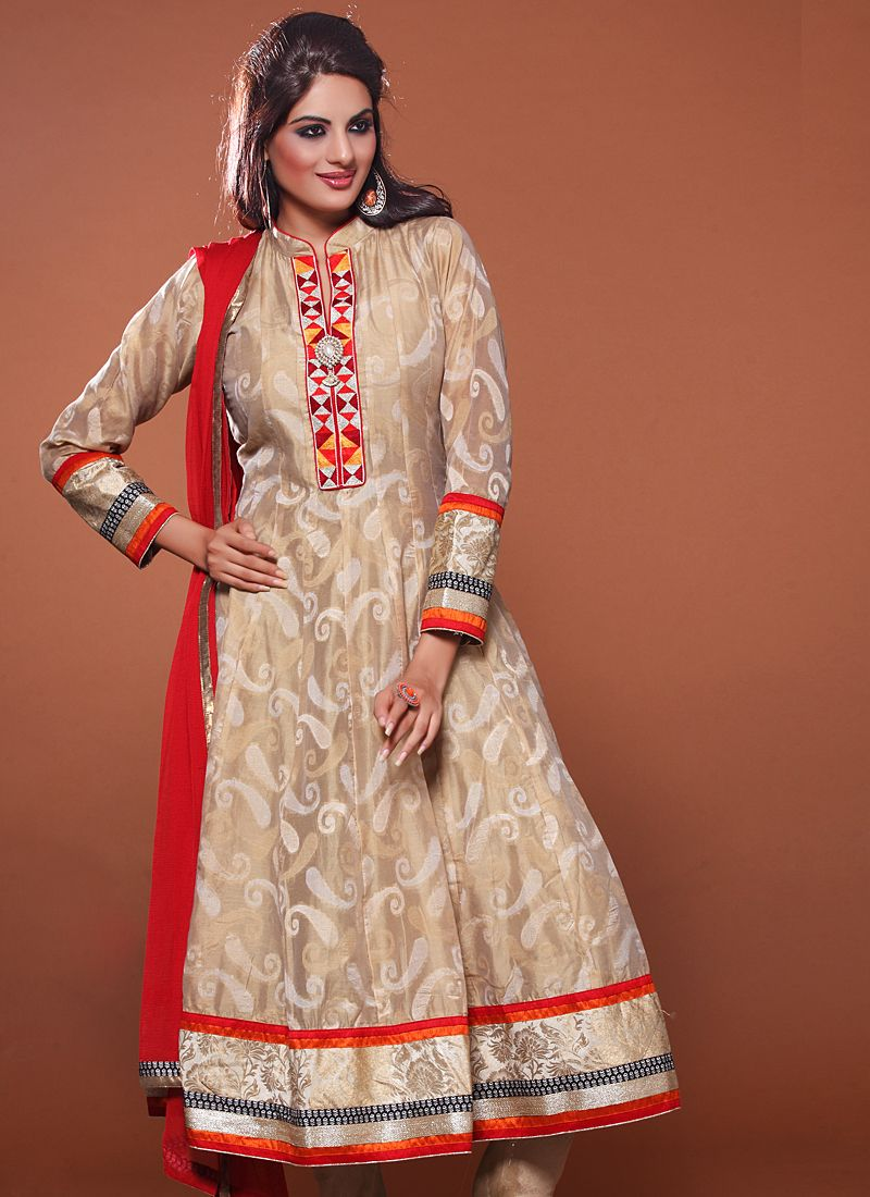 Beige Patch Border Work Anarkali Suit