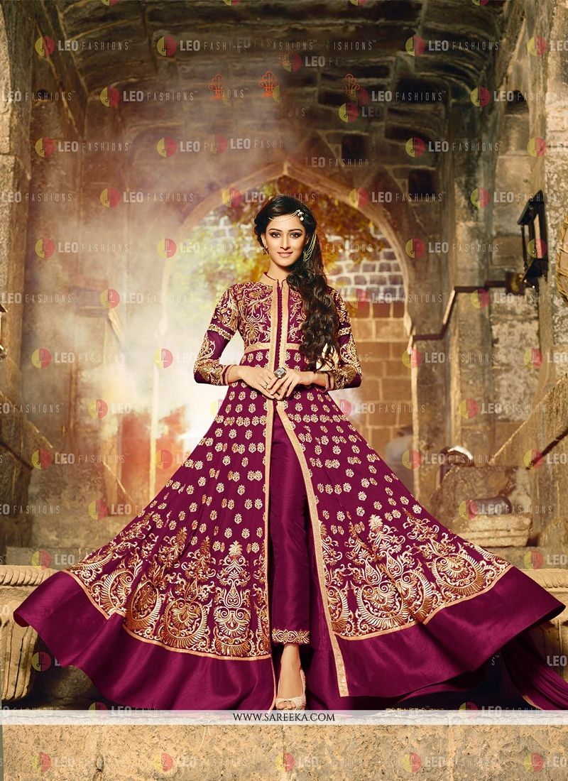 Embroidered Work Wine Anarkali Salwar Kameez