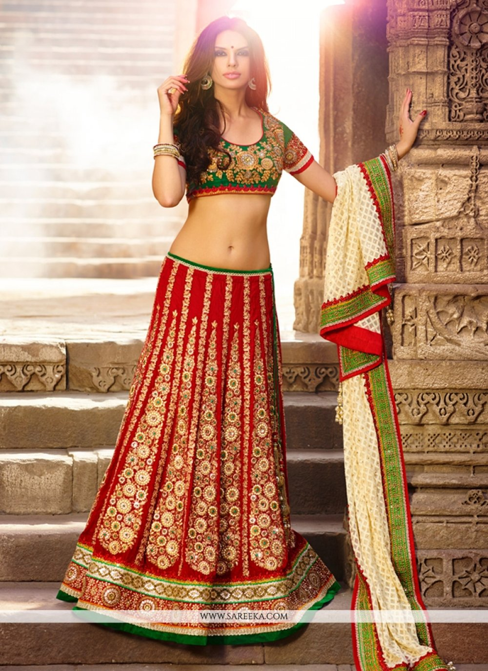 Maroon Velvet Wedding Lehenga Choli
