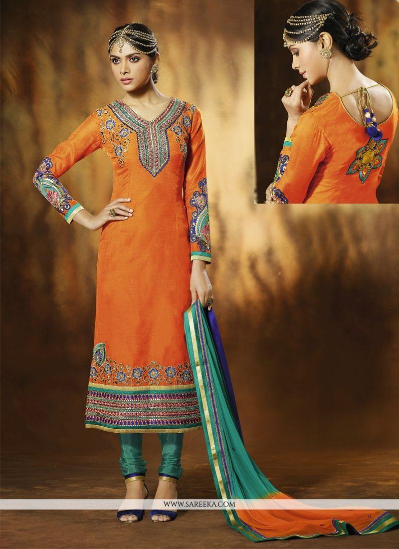 Orange Art Silk Churidar Suit
