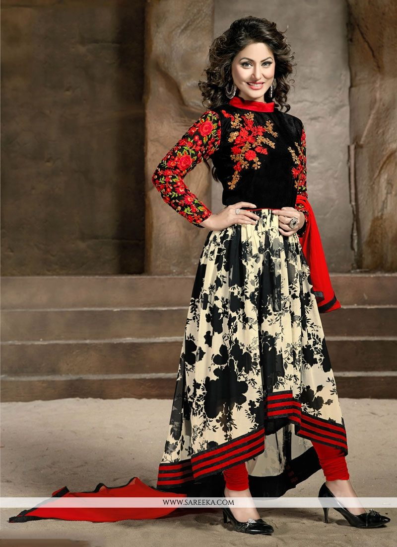 Resham Work Red and Black Designer Salwar Suit