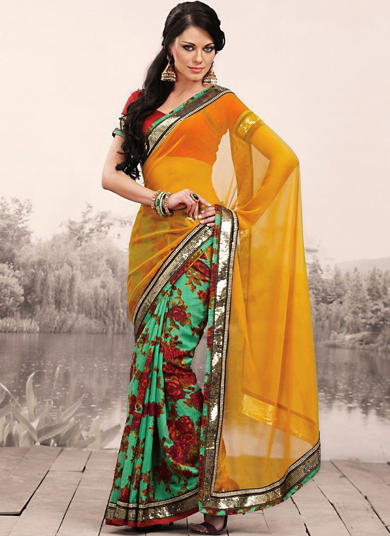 Contemporary Aloe Vera Green & Gold Color Embroidered Saree