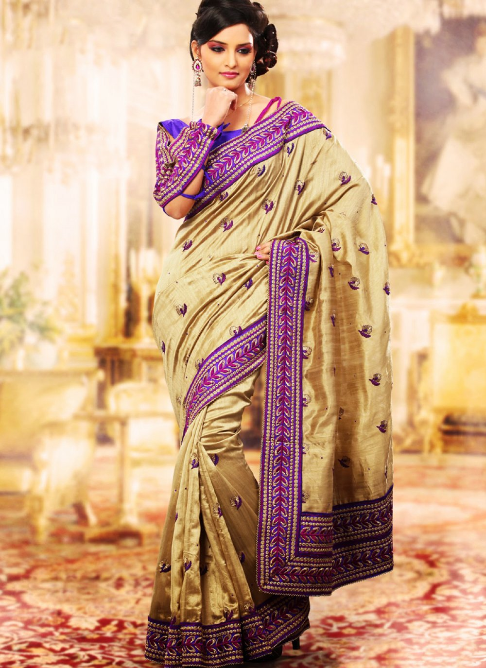 Contemporary Bige Brown & Bluish Purple Embroidered Saree