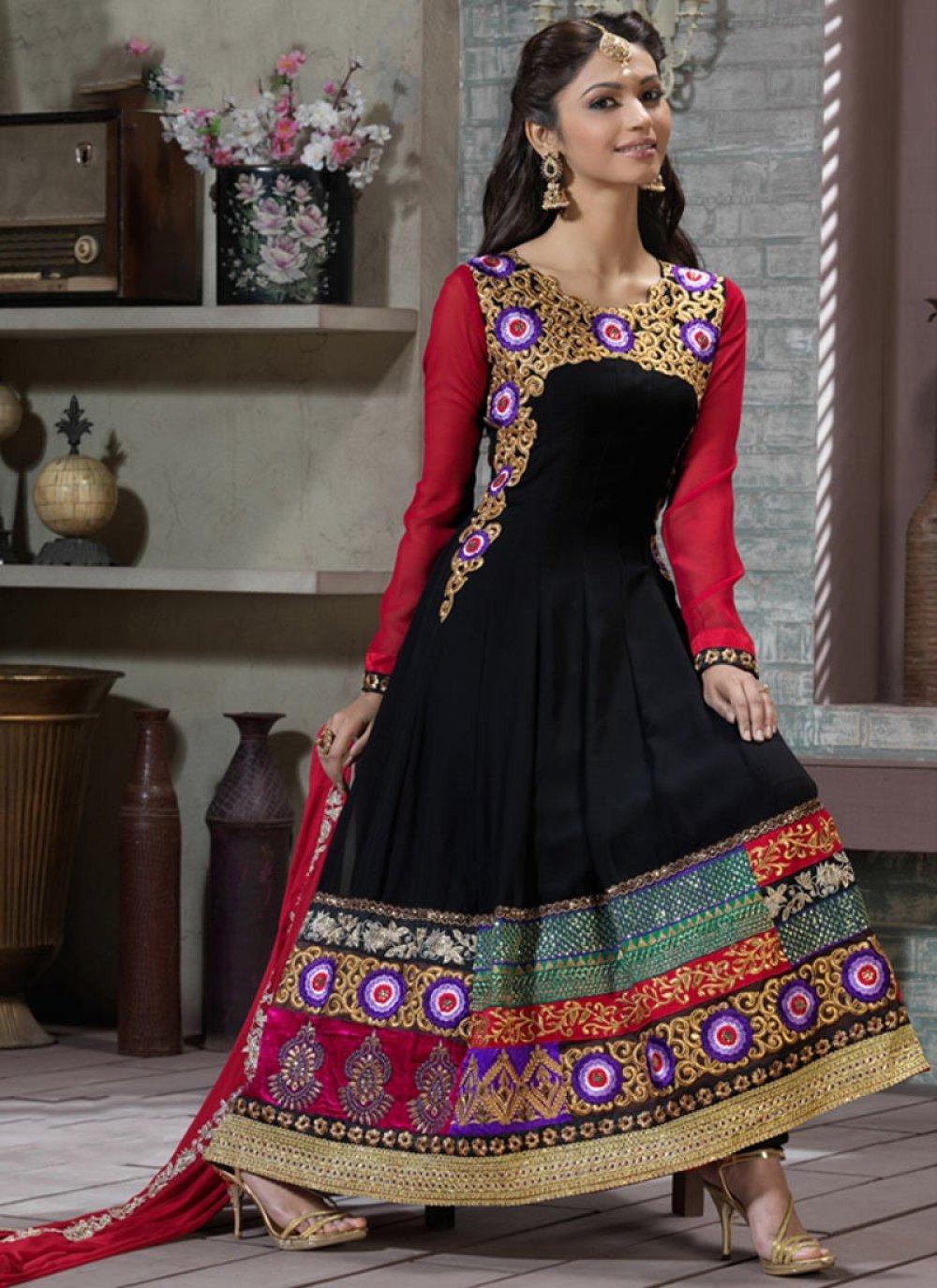 Contemporary Black & Fuchsia Anarkali Suit