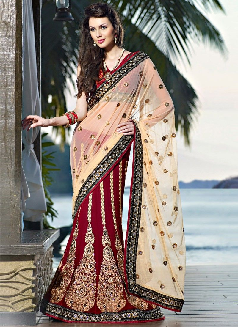 Contemporary Brick Red & Bige Brown Embroidered Saree