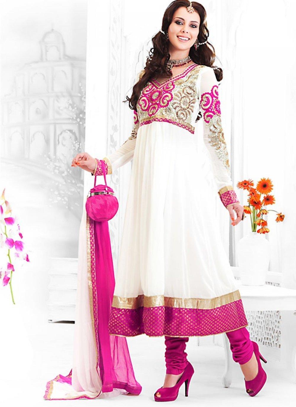 Contemporary Deep Pink & White Salwar Kameez