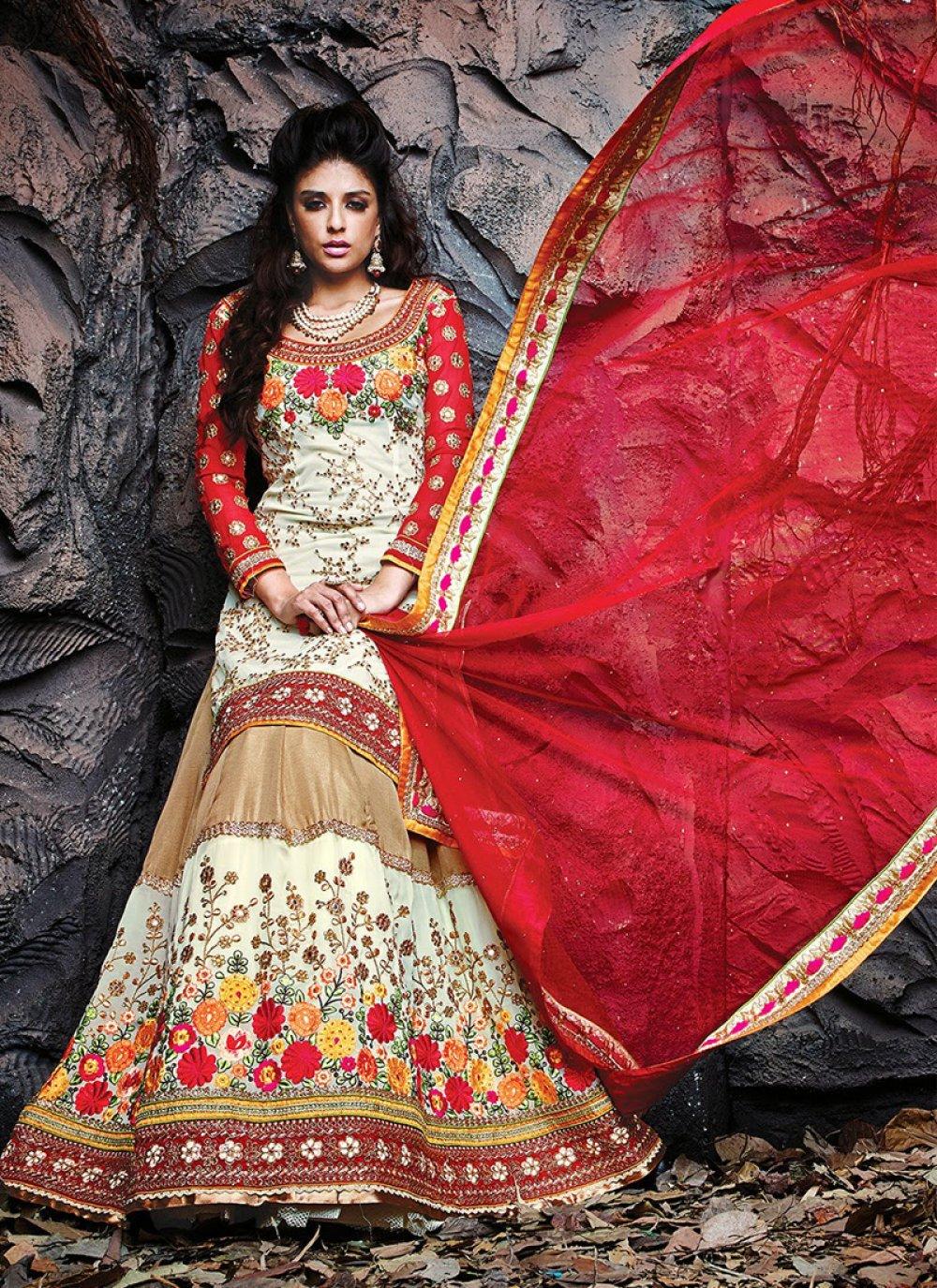 Cream And Beige Art Silk Wedding Lehenga Choli