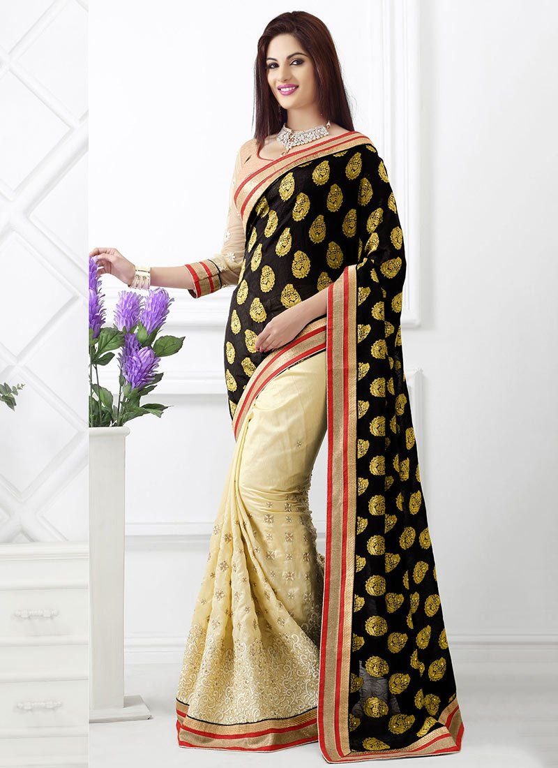 Cream And Black Raw Silk Saree