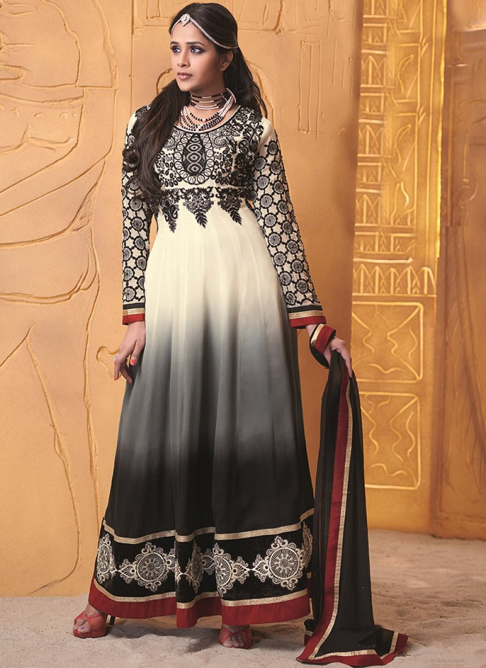 Cream And Black Resham Work Georgette Length Anarkali Suit