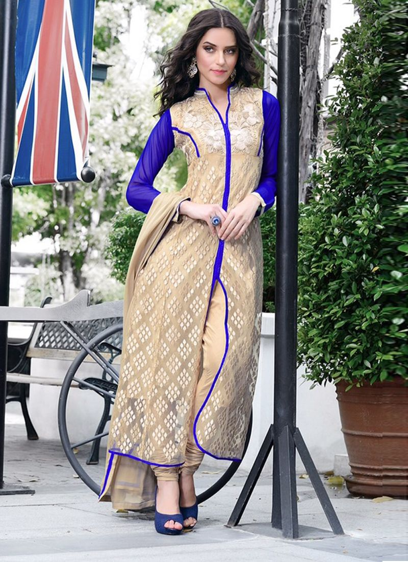 Cream And Blue Embroidery Work Churidar Suit