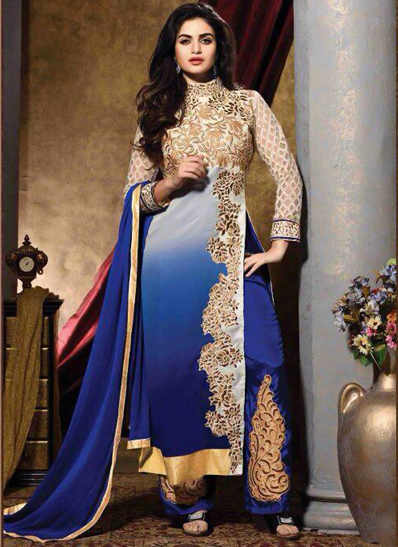 Cream And Blue Shaded Embroidery Salwar Suit