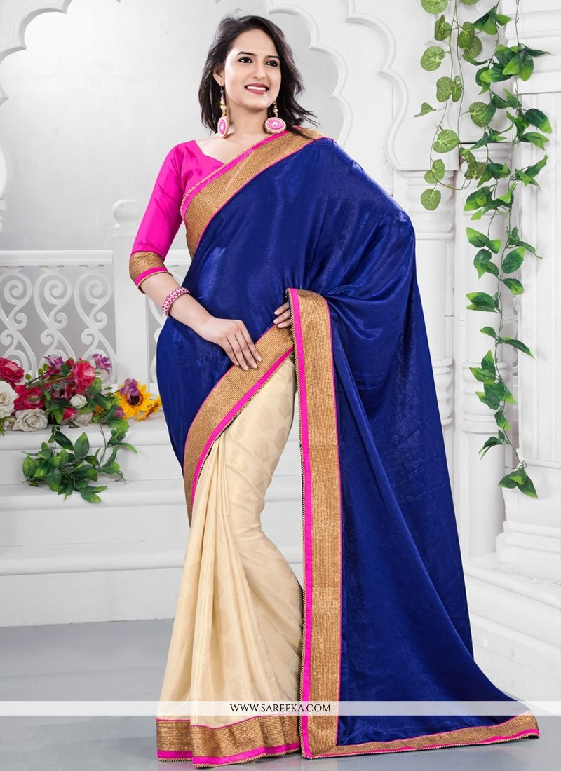Cream And Blue Velvet And Crepe Saree