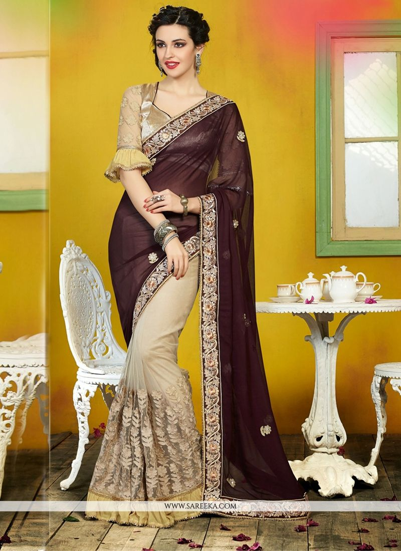 Cream And Brown Georgette And Net Saree