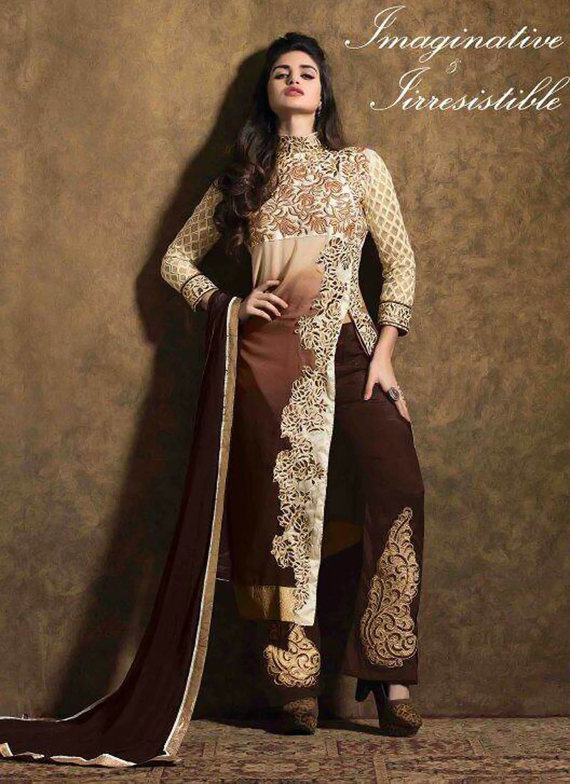 Cream And Brown Georgette Pakistani Suit