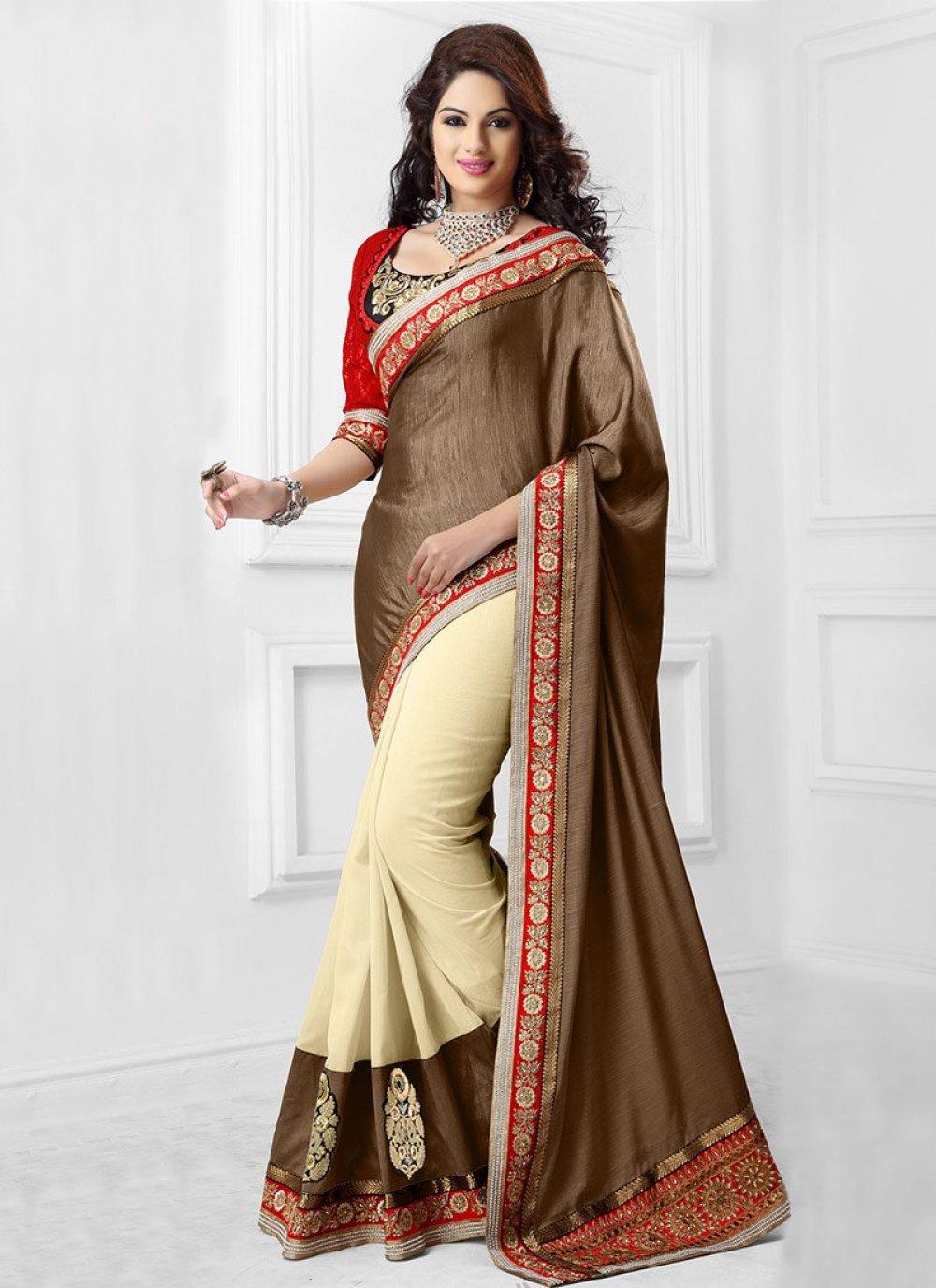Cream And Brown Kashmiri Silk Saree