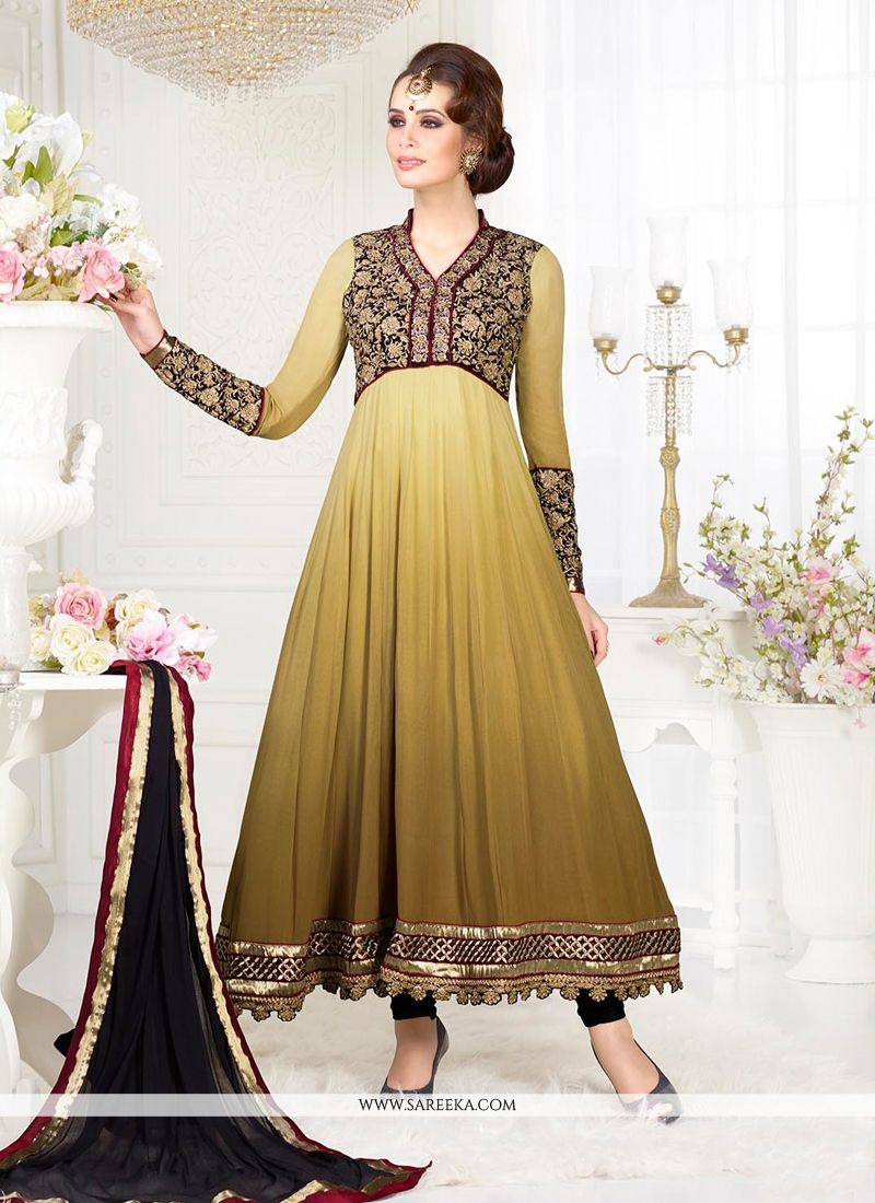 Cream And Brown Shaded Anarkali Salwar Suit