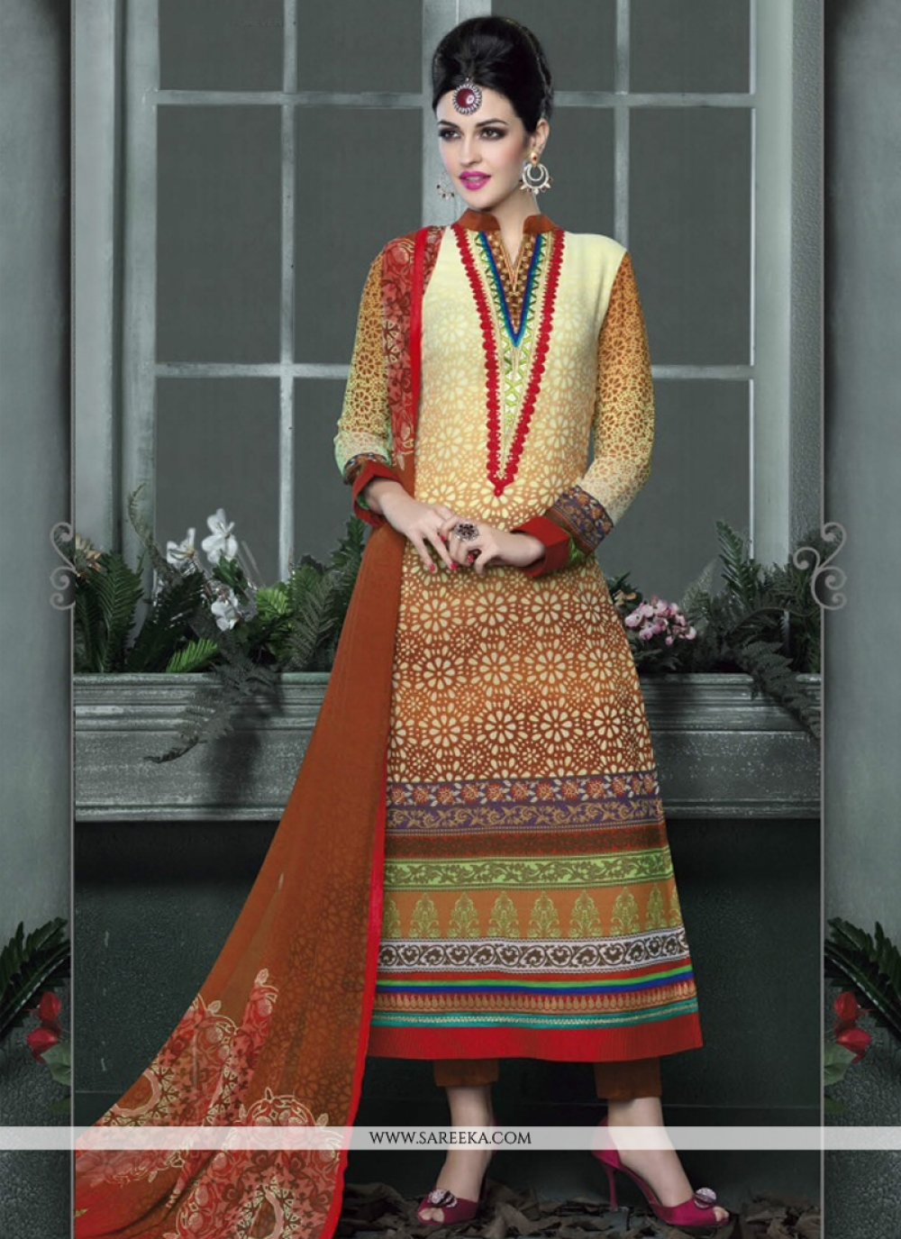 Cream And Brown Shaded Salwar Suit