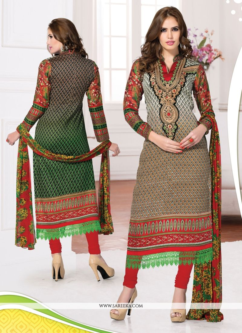 Cream And Brown Shaded Cotton Churidar Suit