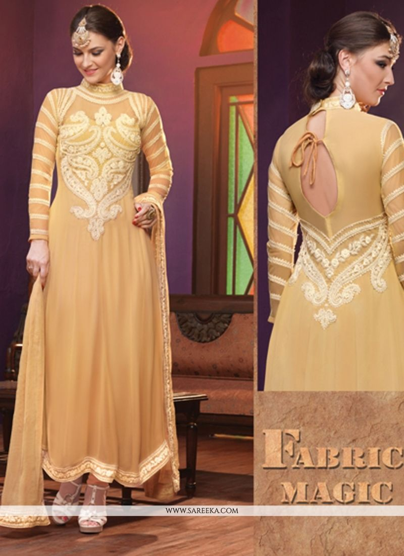 Cream And Brown Shaded Georgette Anarkali Suit