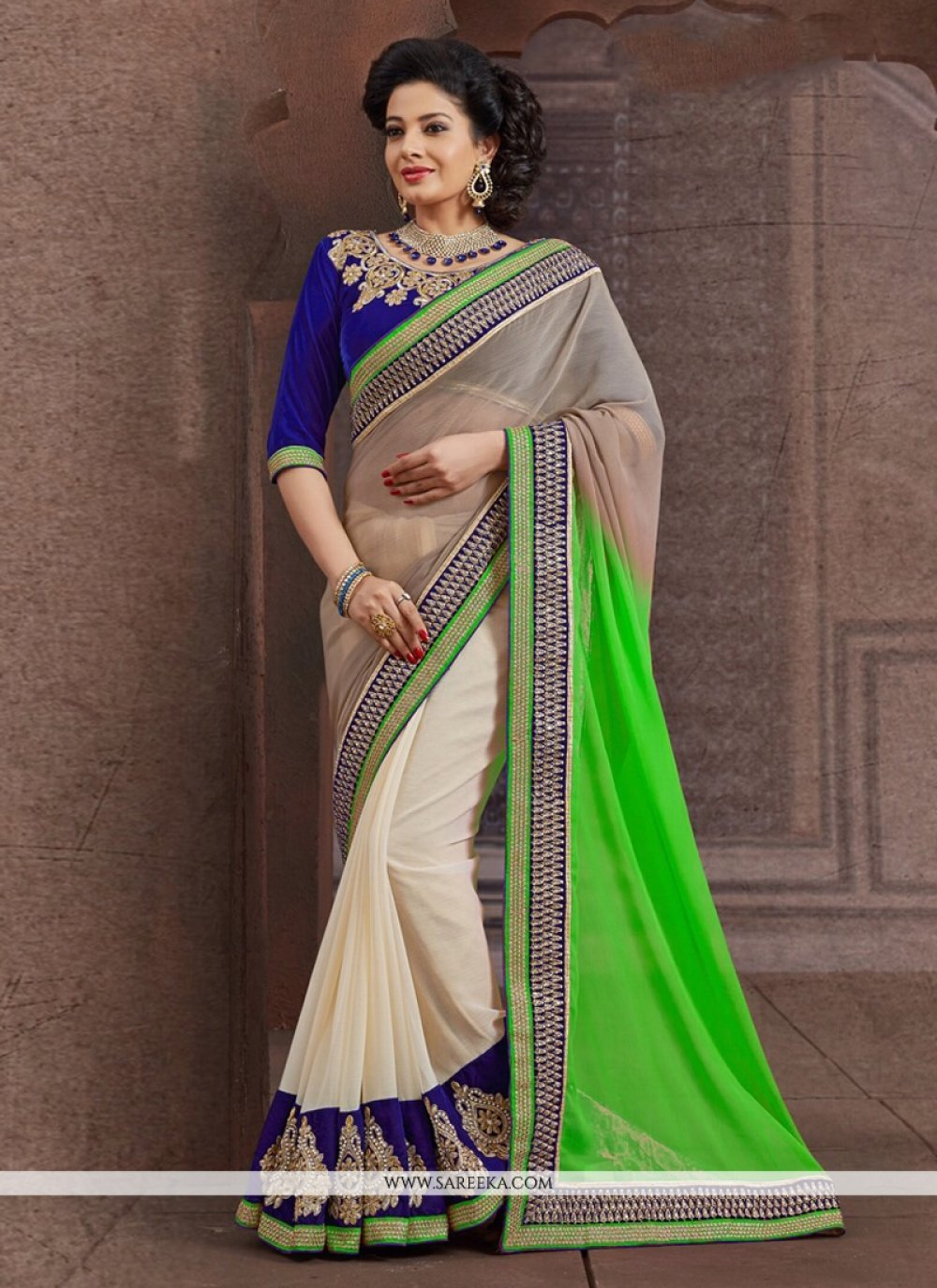 Cream And Green Faux Chiffon Designer Saree