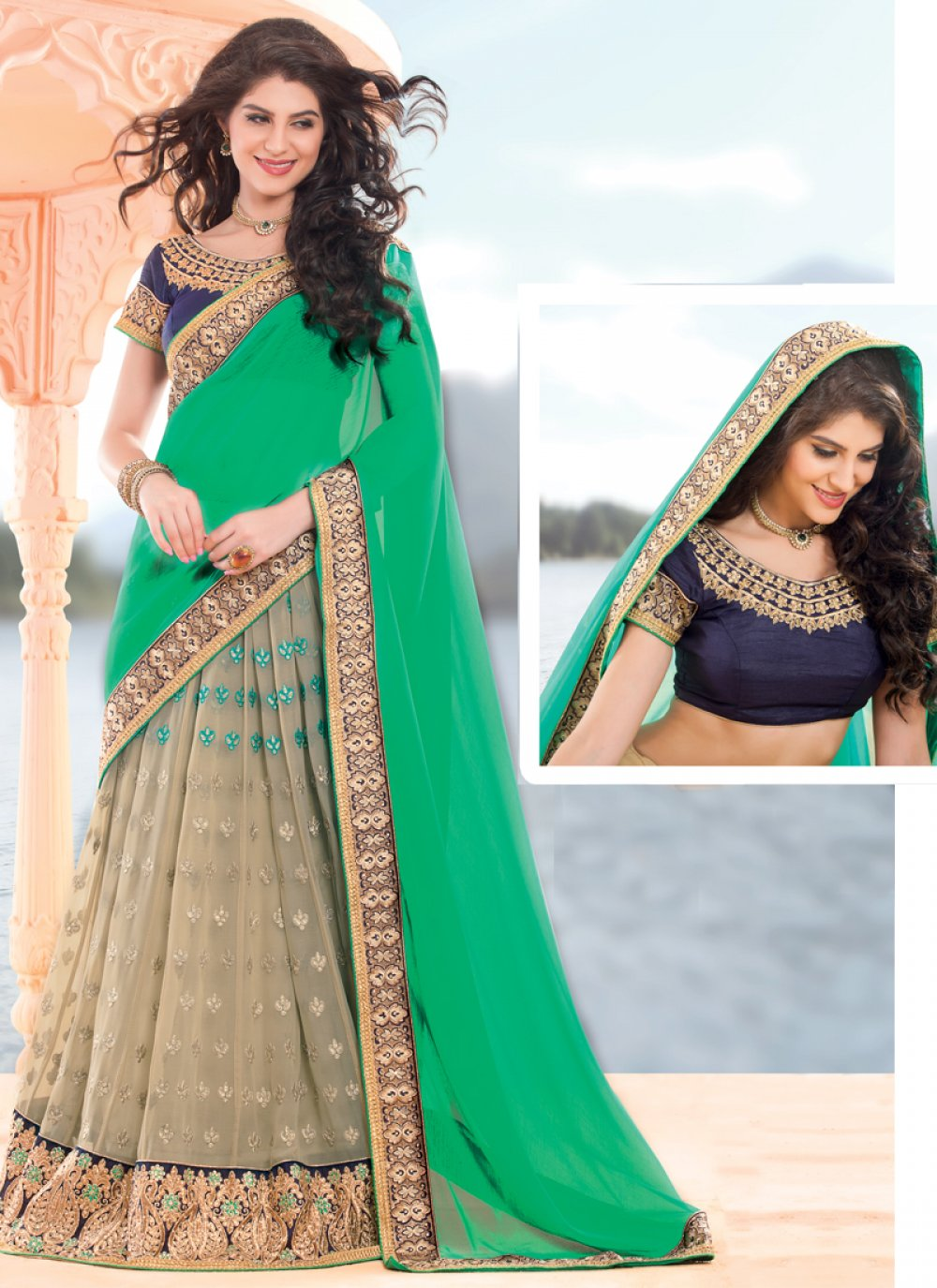 Cream And Green Net Lehenga Saree