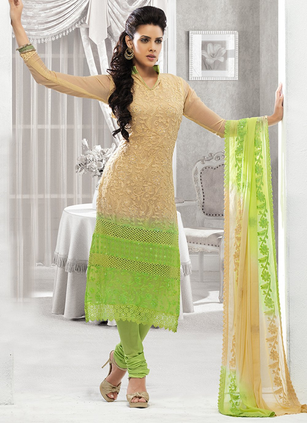 Cream And Green Pure Chiffon Churidar Suit