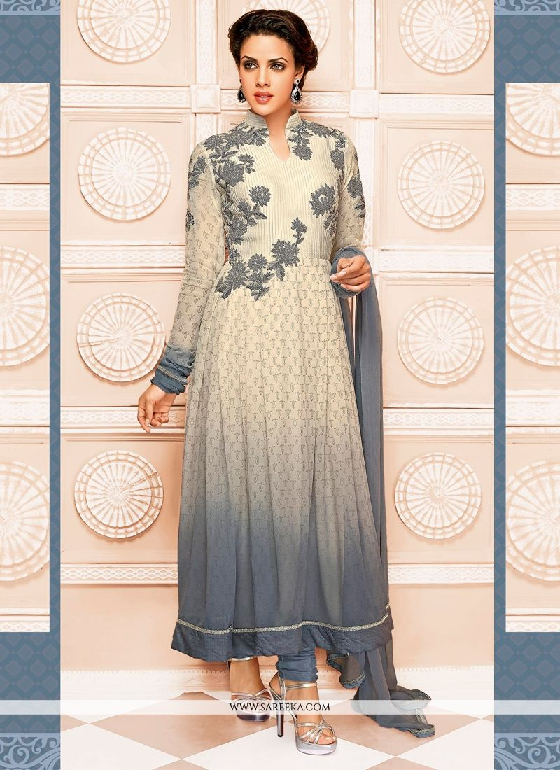 Cream And Grey Georgette Anarkali Suit