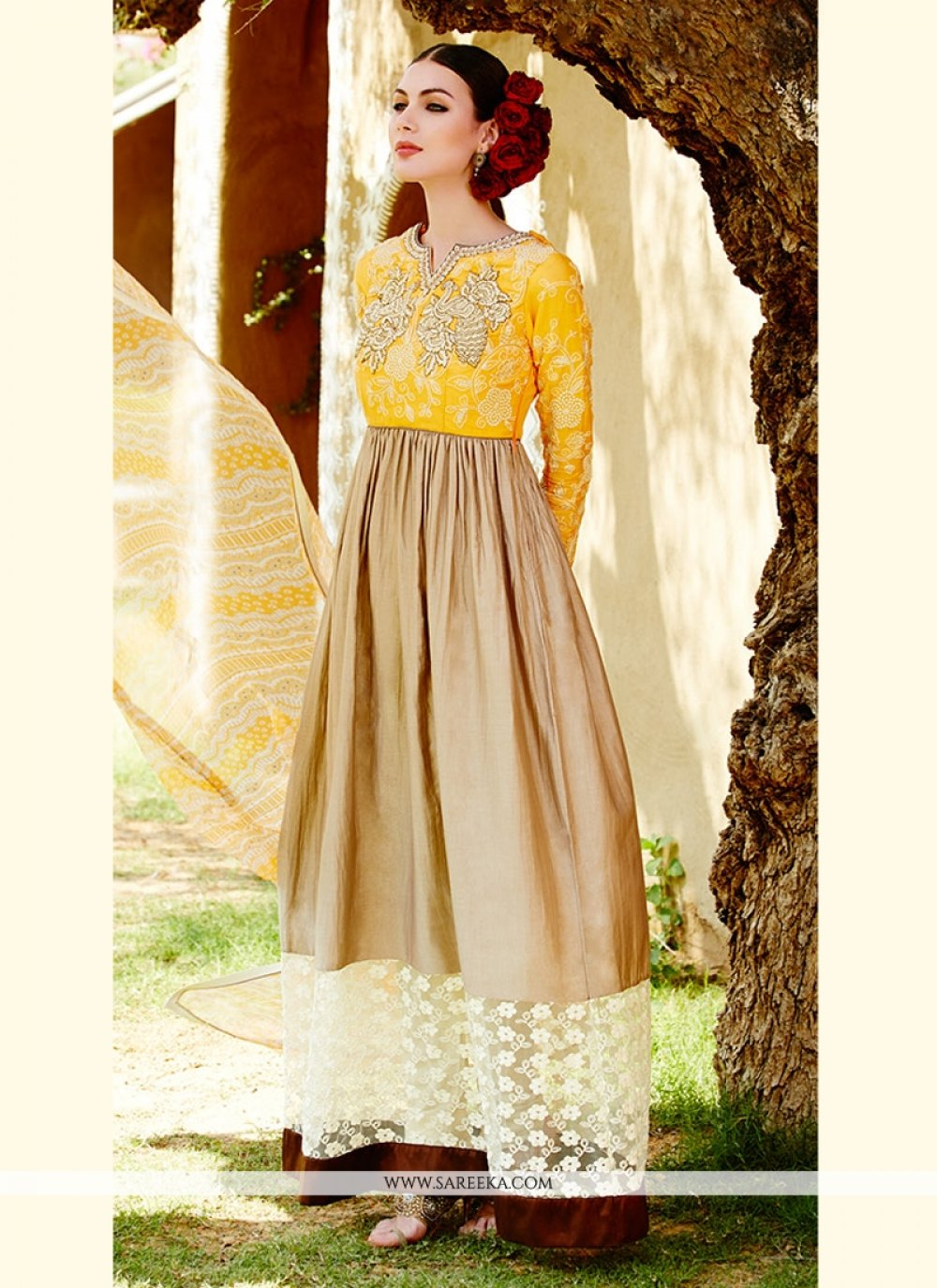Cream And Grey Shaded Cotton Satin Anarkali Suit