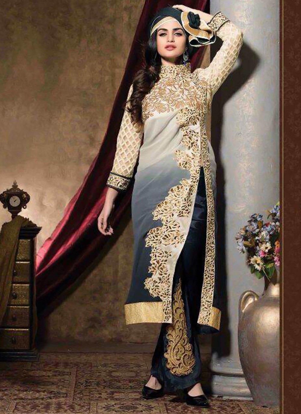 Cream And Grey Zari Work Pakistani Suit