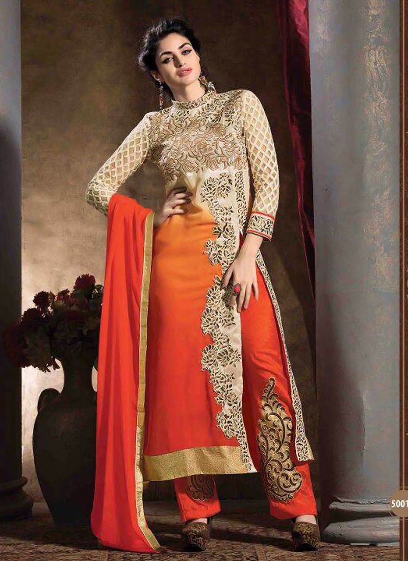 Cream And Orange Georgette Salwar Suit