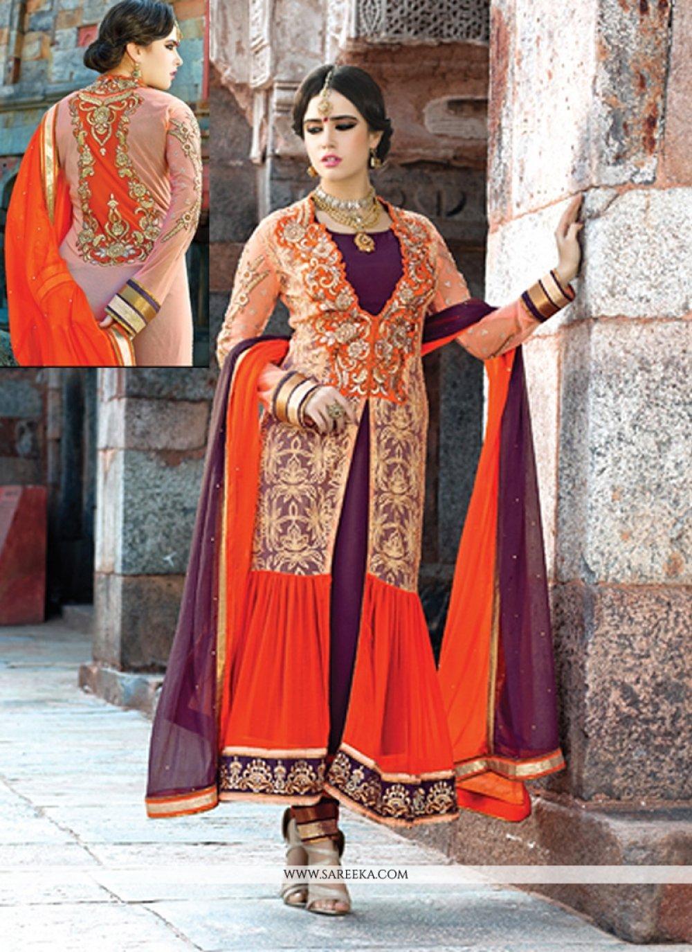 Cream And Orange Pure Georgette Anarkali Suit