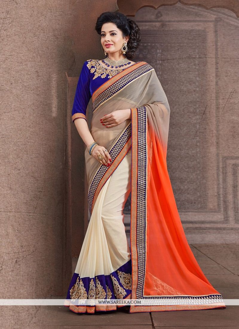 Cream And Orange Shaded Chiffon Designer Saree