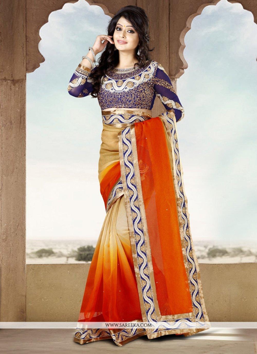 Cream And Orange Shaded Cotton Saree