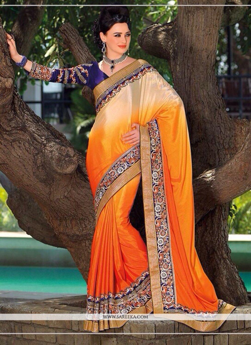 Cream And Orange Shaded Satin Chiffon Saree