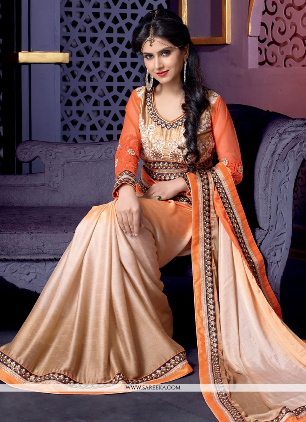 Cream And Orange Shaded Satin Silk Saree