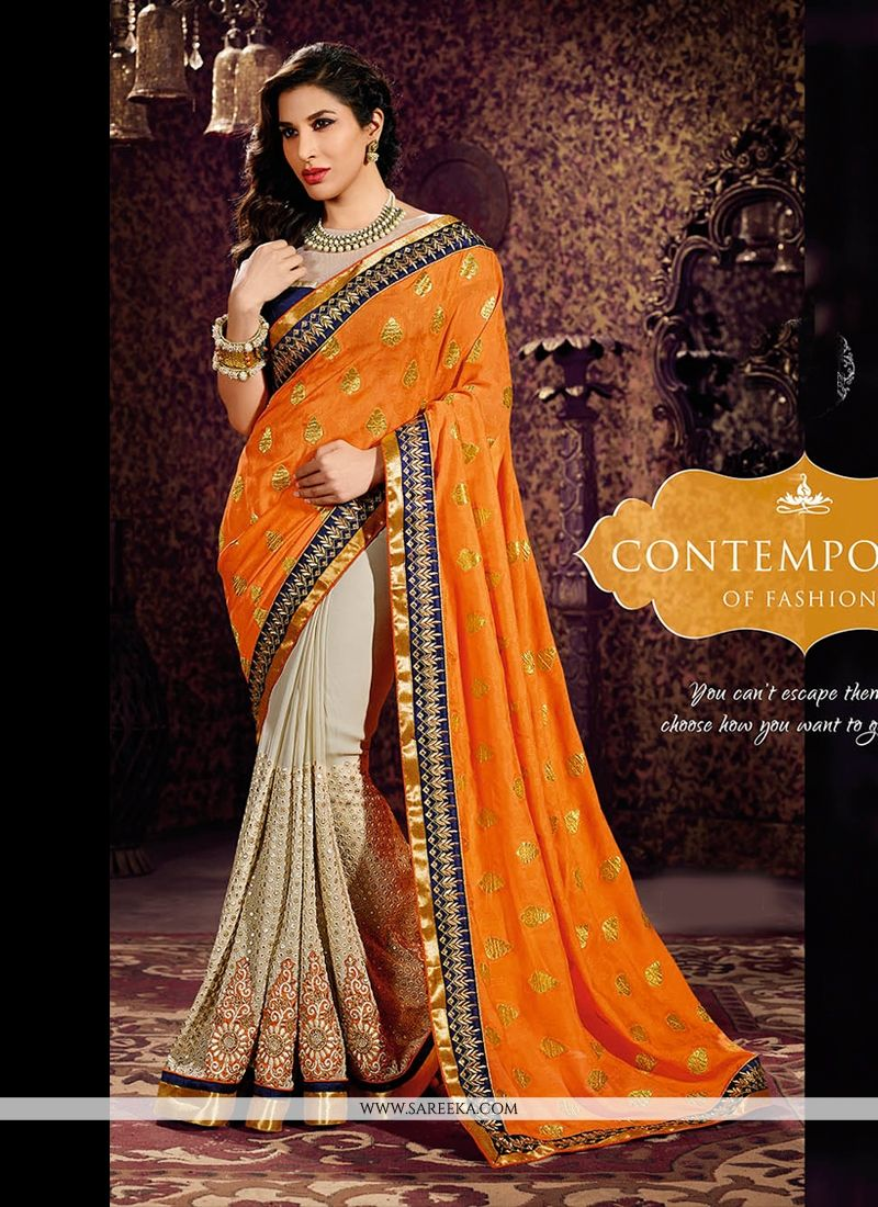 Cream And Orange Weight Less And Georgette Saree