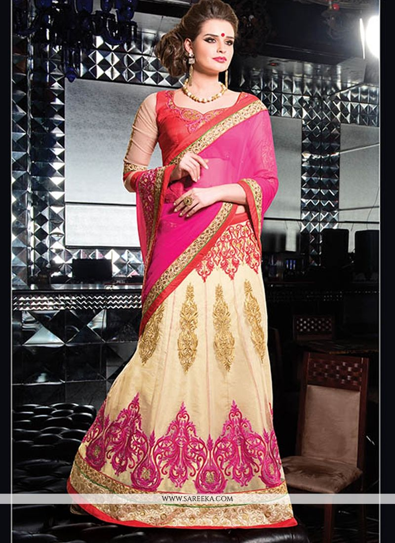 Cream And Pink Chiffon Net Lehenga Saree