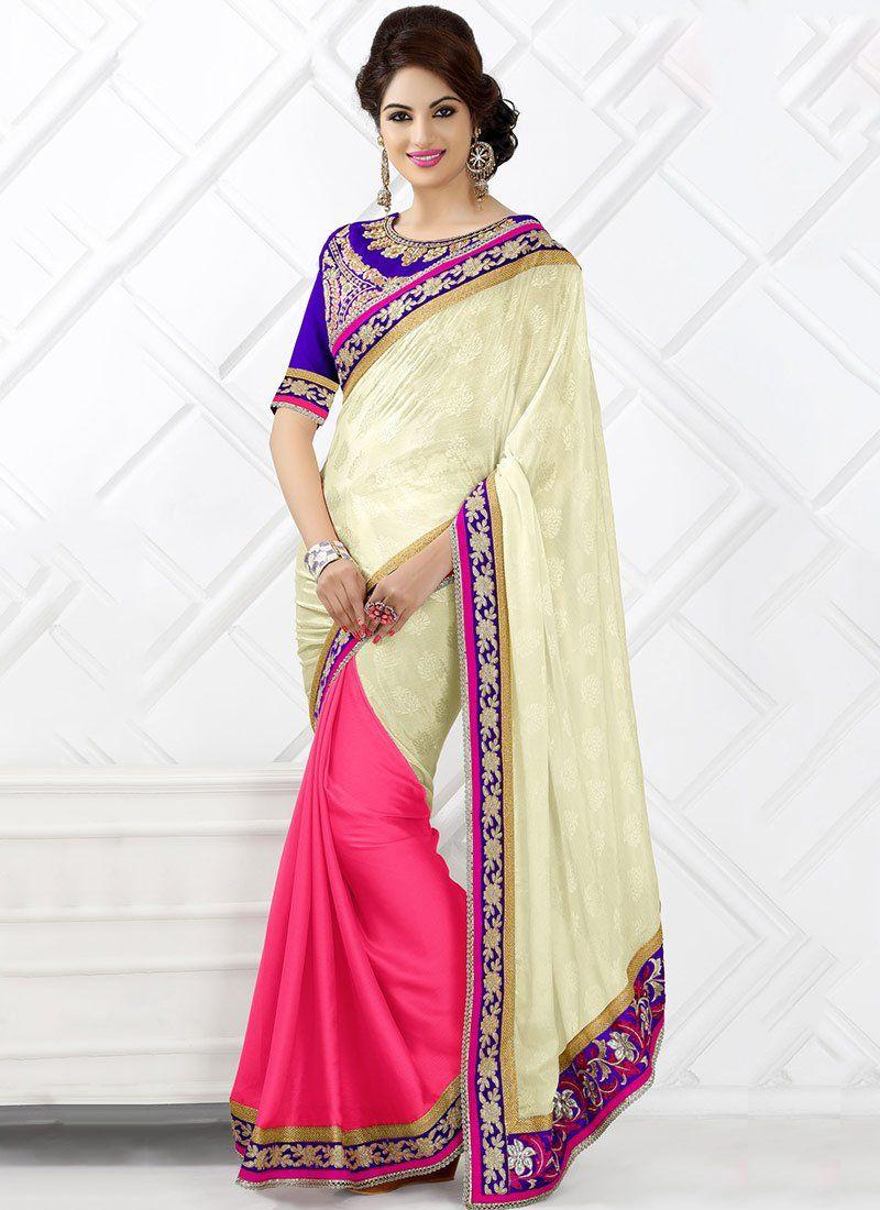 Cream And Pink Chiffon Saree